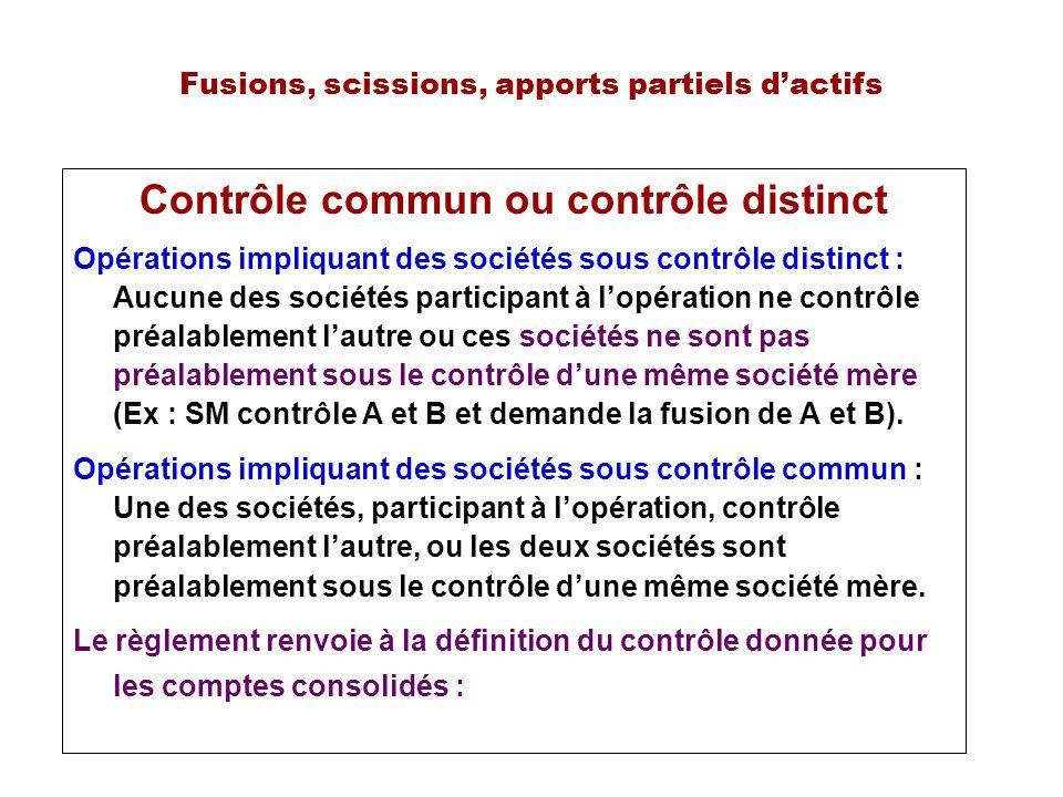 Fusions, scissions, apports partiels dactifs Contrôle commun ou contrôle distinct Opérations impliquant des sociétés sous contrôle distinct : Aucune d