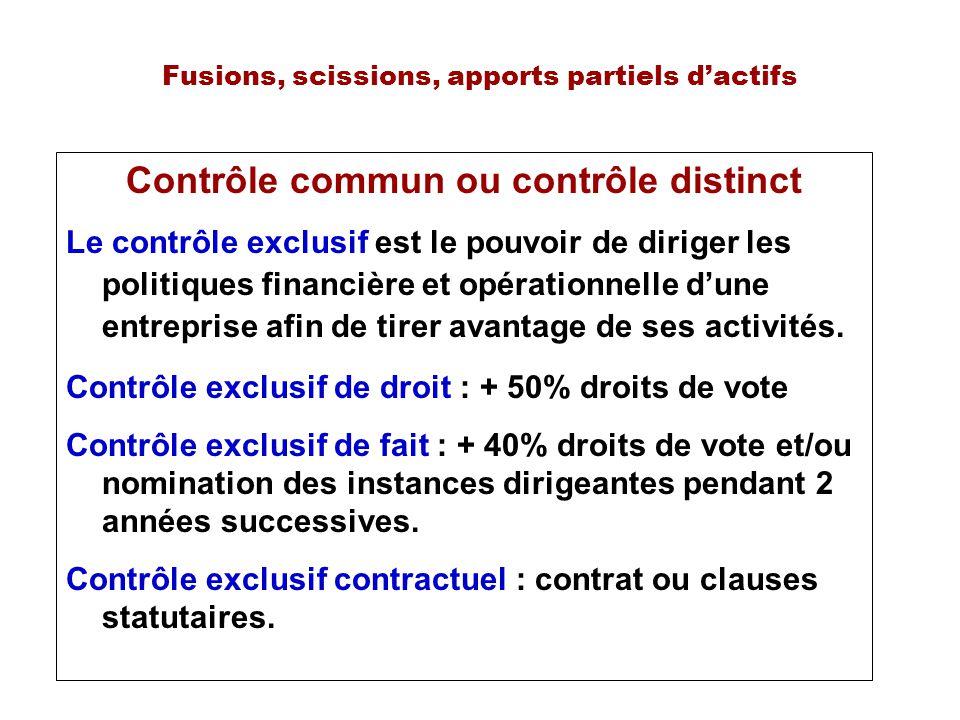 Fusions, scissions, apports partiels dactifs Contrôle commun ou contrôle distinct Le contrôle exclusif est le pouvoir de diriger les politiques financ