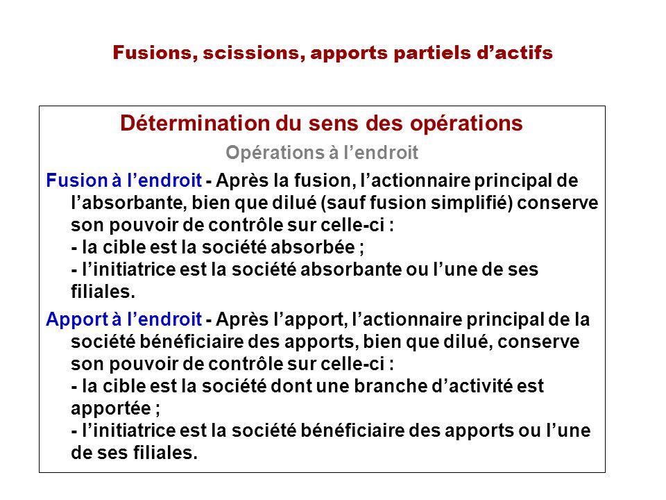Fusions, scissions, apports partiels dactifs Détermination du sens des opérations Opérations à lendroit Fusion à lendroit - Après la fusion, lactionna