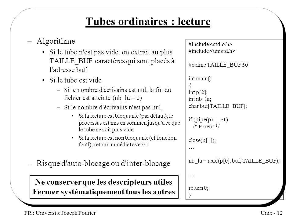 Unix - 12 FR : Université Joseph Fourier Tubes ordinaires : lecture –Algorithme Si le tube n'est pas vide, on extrait au plus TAILLE_BUF caractères qu
