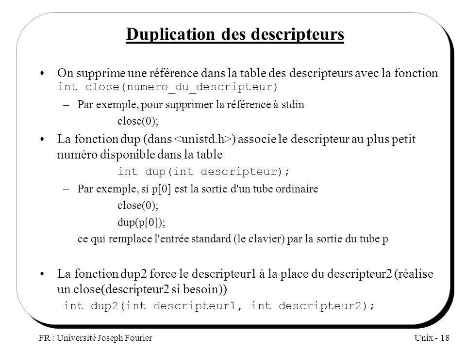 Unix - 18 FR : Université Joseph Fourier Duplication des descripteurs On supprime une référence dans la table des descripteurs avec la fonction int cl