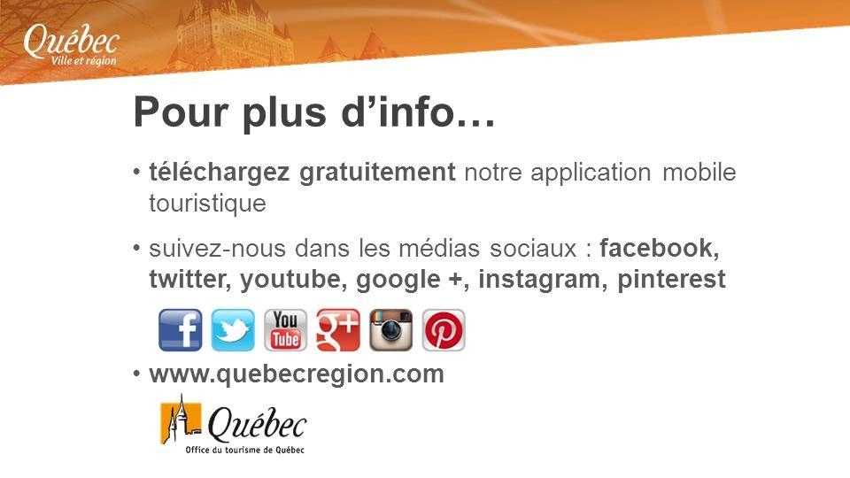 téléchargez gratuitement notre application mobile touristique suivez-nous dans les médias sociaux : facebook, twitter, youtube, google +, instagram, pinterest www.quebecregion.com Pour plus dinfo…