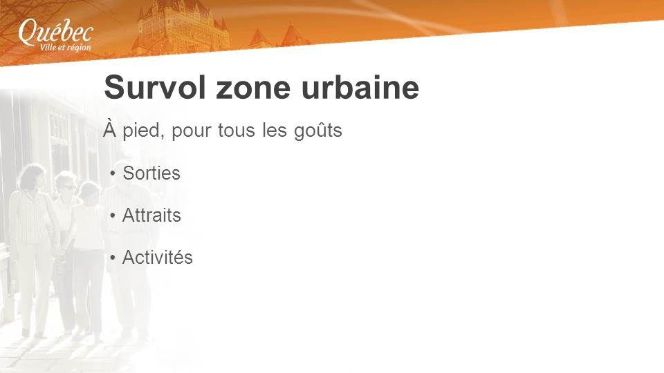 À pied, pour tous les goûts Sorties Attraits Activités Survol zone urbaine