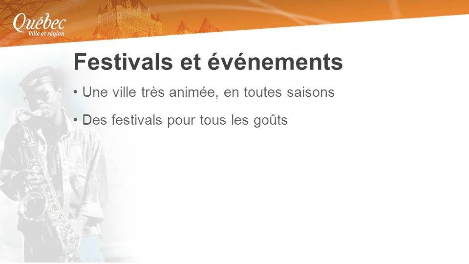 Une ville très animée, en toutes saisons Des festivals pour tous les goûts Festivals et événements