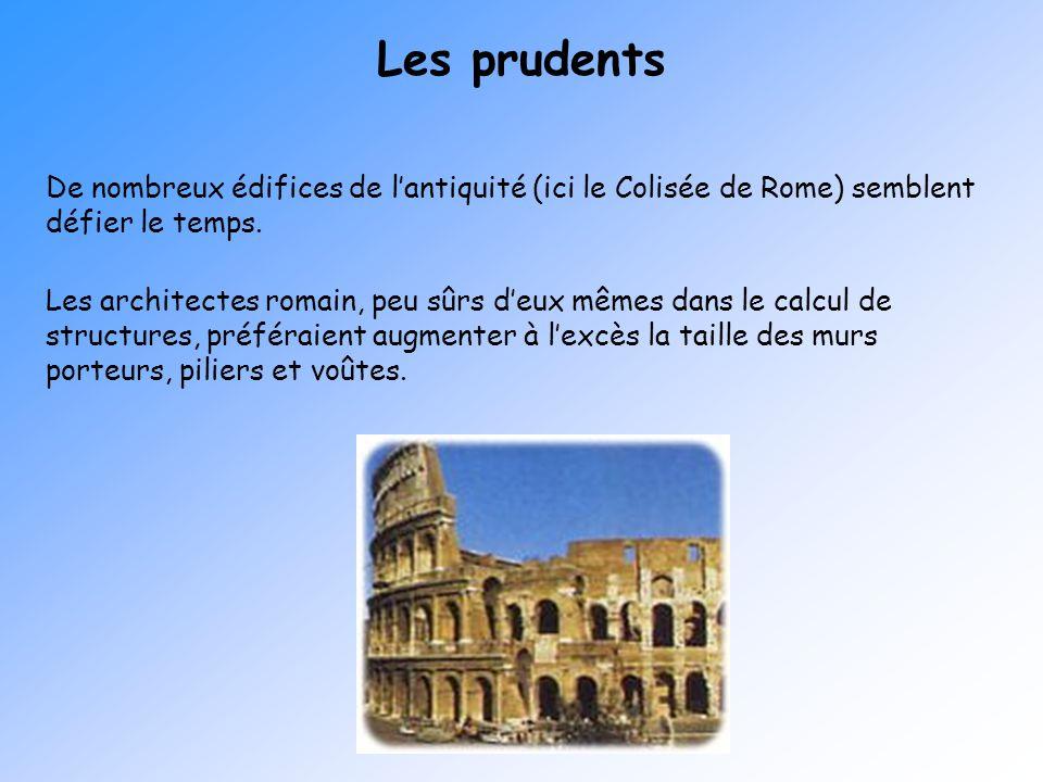Les prudents De nombreux édifices de lantiquité (ici le Colisée de Rome) semblent défier le temps. Les architectes romain, peu sûrs deux mêmes dans le