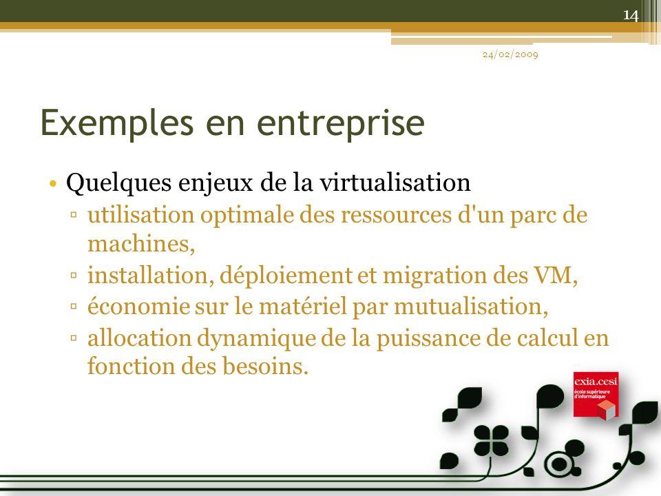 Exemples en entreprise Quelques enjeux de la virtualisation utilisation optimale des ressources d un parc de machines, installation, déploiement et migration des VM, économie sur le matériel par mutualisation, allocation dynamique de la puissance de calcul en fonction des besoins.