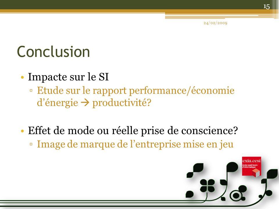 Conclusion Impacte sur le SI Etude sur le rapport performance/économie dénergie productivité? Effet de mode ou réelle prise de conscience? Image de ma