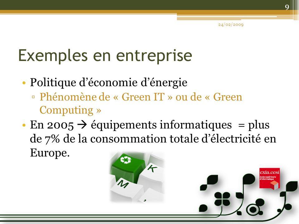 Exemples en entreprise Politique déconomie dénergie Phénomène de « Green IT » ou de « Green Computing » En 2005 équipements informatiques = plus de 7% de la consommation totale délectricité en Europe.