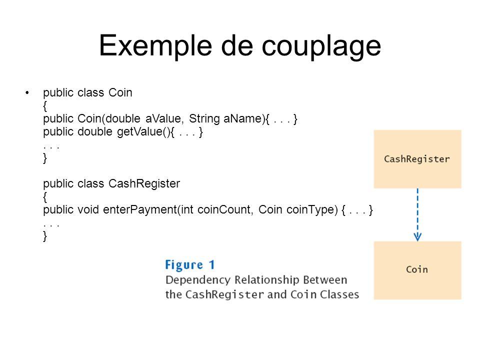Exemple de couplage public class Coin { public Coin(double aValue, String aName){... } public double getValue(){... }... } public class CashRegister {