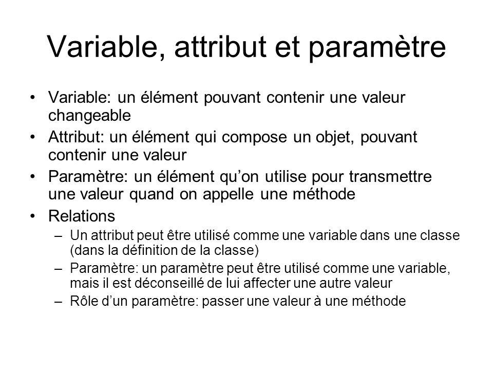 Variable, attribut et paramètre Variable: un élément pouvant contenir une valeur changeable Attribut: un élément qui compose un objet, pouvant contenir une valeur Paramètre: un élément quon utilise pour transmettre une valeur quand on appelle une méthode Relations –Un attribut peut être utilisé comme une variable dans une classe (dans la définition de la classe) –Paramètre: un paramètre peut être utilisé comme une variable, mais il est déconseillé de lui affecter une autre valeur –Rôle dun paramètre: passer une valeur à une méthode