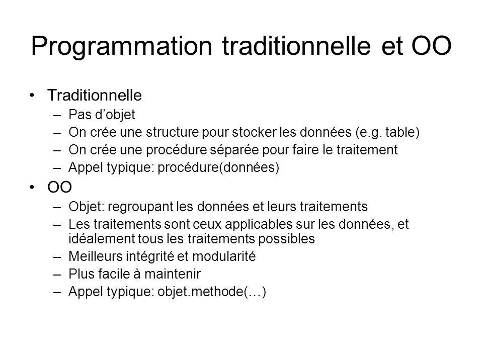 Programmation traditionnelle et OO Traditionnelle –Pas dobjet –On crée une structure pour stocker les données (e.g.