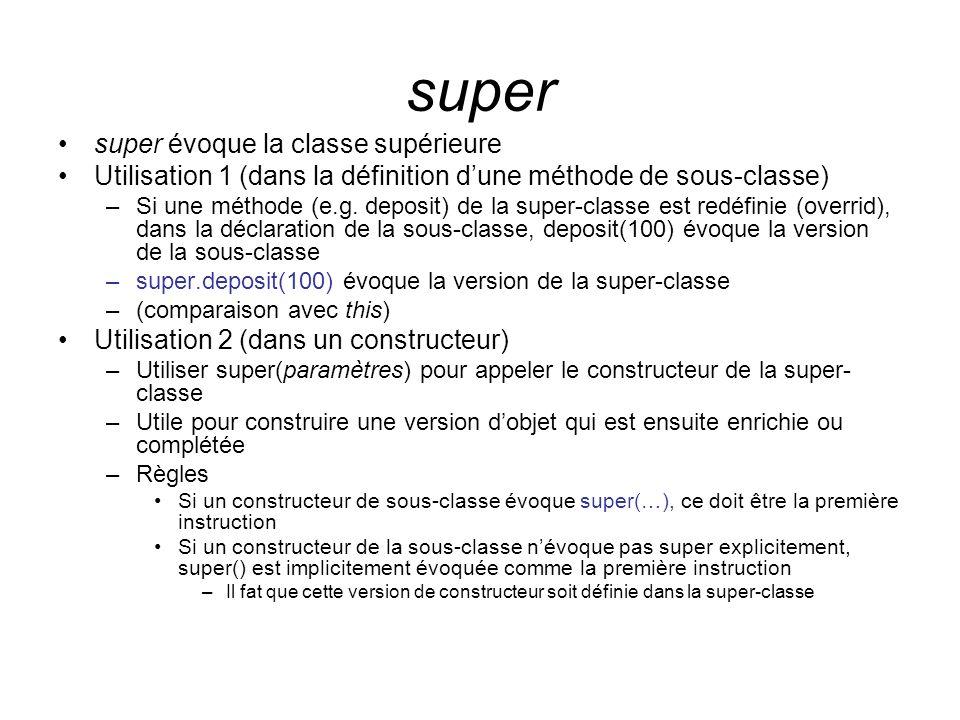 super super évoque la classe supérieure Utilisation 1 (dans la définition dune méthode de sous-classe) –Si une méthode (e.g.