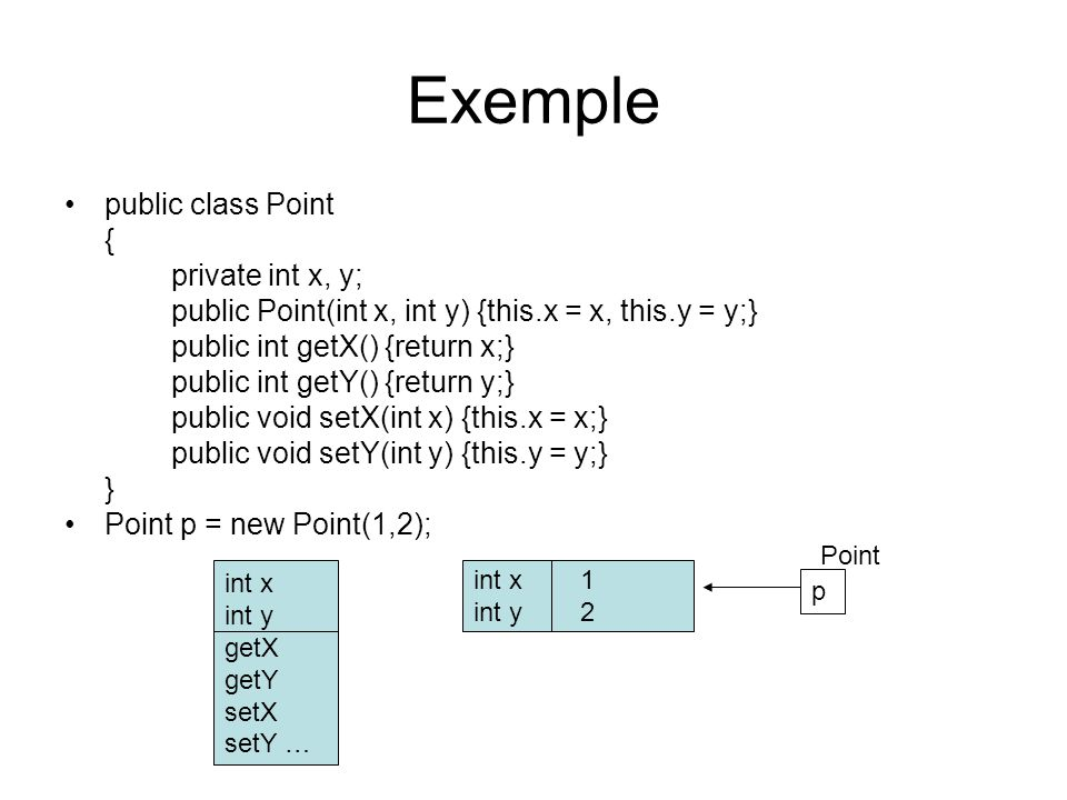 Exemple public class Point { private int x, y; public Point(int x, int y) {this.x = x, this.y = y;} public int getX() {return x;} public int getY() {r
