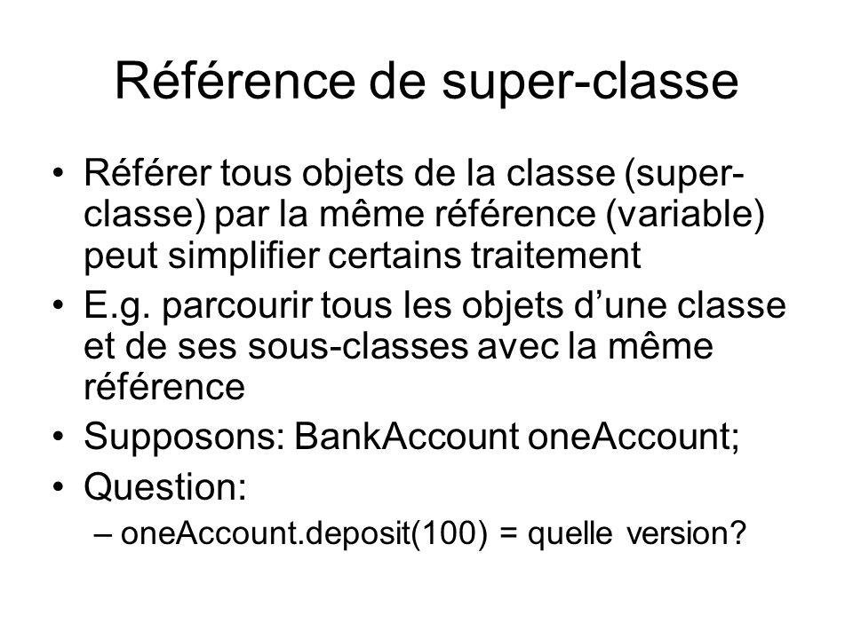 Référence de super-classe Référer tous objets de la classe (super- classe) par la même référence (variable) peut simplifier certains traitement E.g.