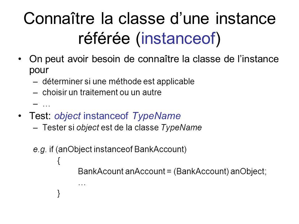 Connaître la classe dune instance référée (instanceof) On peut avoir besoin de connaître la classe de linstance pour –déterminer si une méthode est applicable –choisir un traitement ou un autre –… Test: object instanceof TypeName –Tester si object est de la classe TypeName e.g.