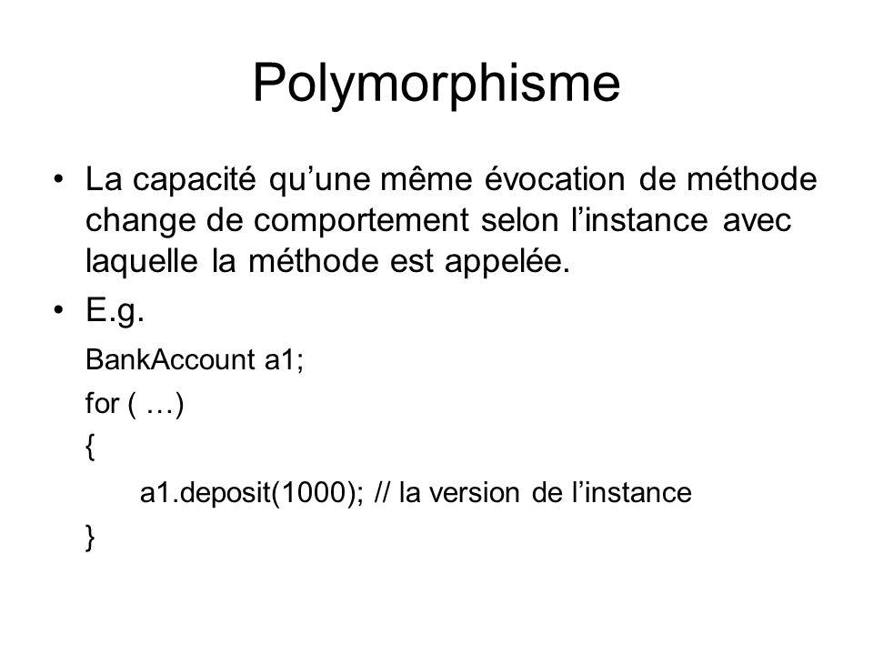 Polymorphisme La capacité quune même évocation de méthode change de comportement selon linstance avec laquelle la méthode est appelée.
