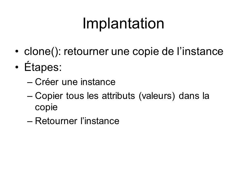 Implantation clone(): retourner une copie de linstance Étapes: –Créer une instance –Copier tous les attributs (valeurs) dans la copie –Retourner linstance