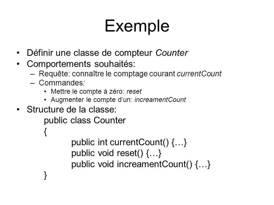 Exemple Définir une classe de compteur Counter Comportements souhaités: –Requête: connaître le comptage courant currentCount –Commandes: Mettre le com