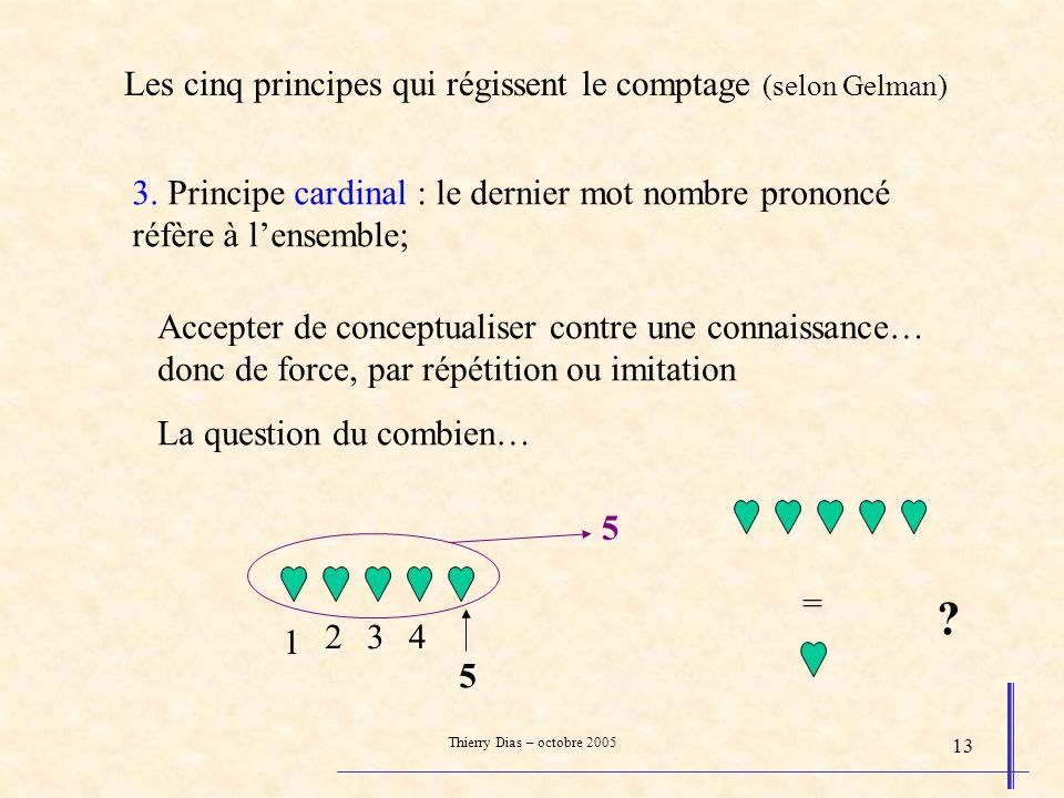 Thierry Dias – octobre 2005 13 3. Principe cardinal : le dernier mot nombre prononcé réfère à lensemble; Accepter de conceptualiser contre une connais