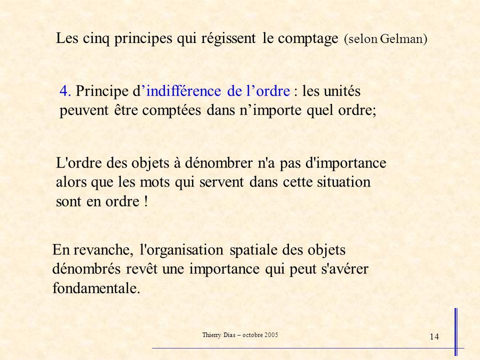 Thierry Dias – octobre 2005 14 4. Principe dindifférence de lordre : les unités peuvent être comptées dans nimporte quel ordre; L'ordre des objets à d