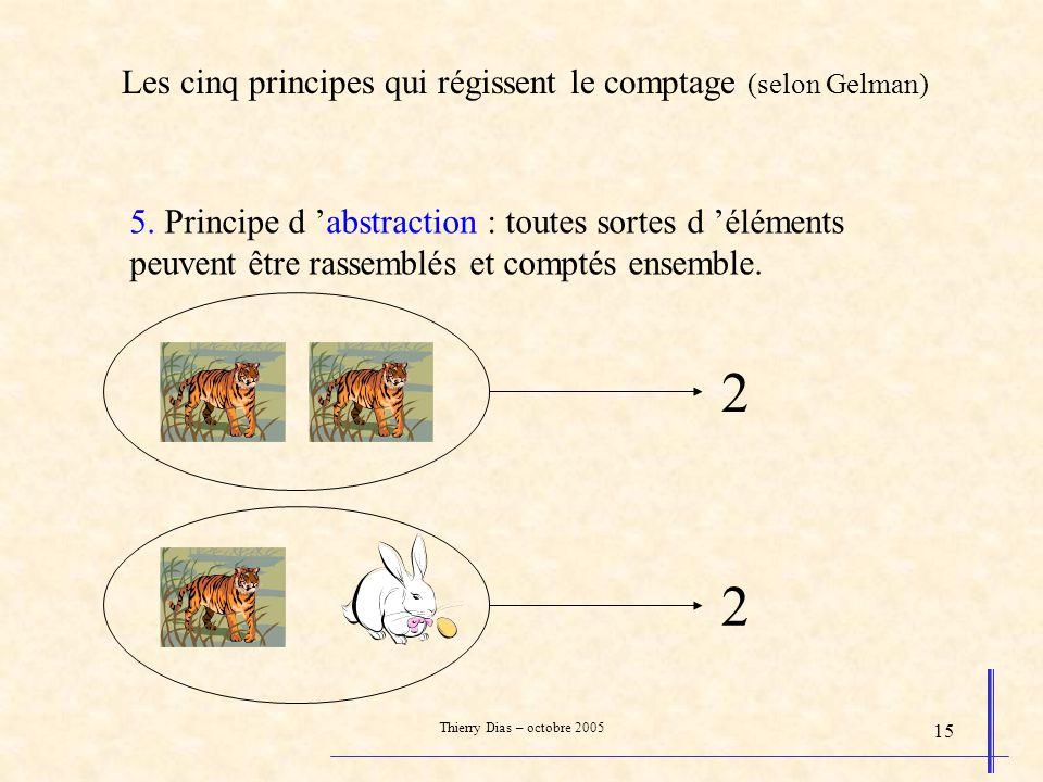Thierry Dias – octobre 2005 15 5. Principe d abstraction : toutes sortes d éléments peuvent être rassemblés et comptés ensemble. 2 2 Les cinq principe