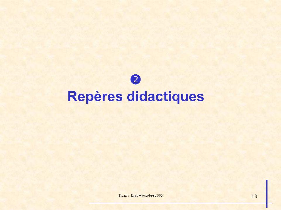 Thierry Dias – octobre 2005 18 Repères didactiques