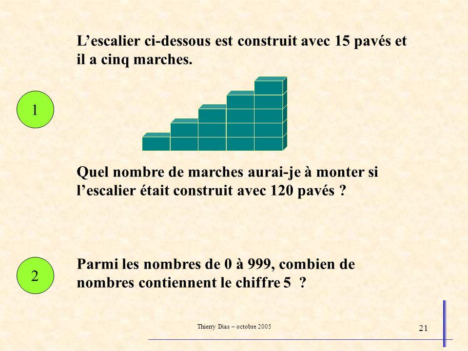 Thierry Dias – octobre 2005 21 Parmi les nombres de 0 à 999, combien de nombres contiennent le chiffre 5 ? Lescalier ci-dessous est construit avec 15