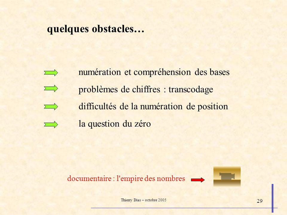Thierry Dias – octobre 2005 29 numération et compréhension des bases problèmes de chiffres : transcodage difficultés de la numération de position la q