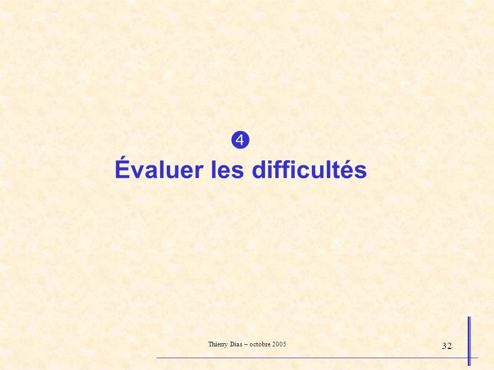 Thierry Dias – octobre 2005 32 Évaluer les difficultés