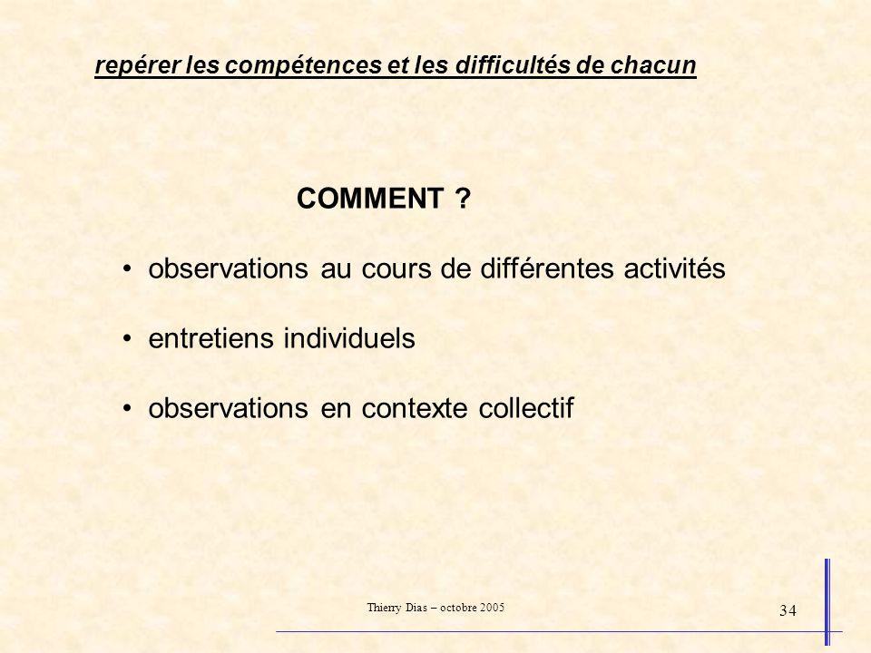 Thierry Dias – octobre 2005 34 COMMENT ? observations au cours de différentes activités entretiens individuels observations en contexte collectif repé