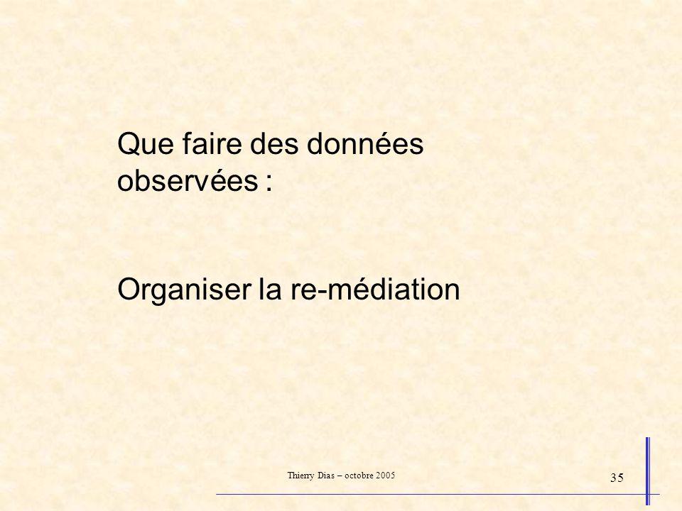 Thierry Dias – octobre 2005 35 Que faire des données observées : Organiser la re-médiation