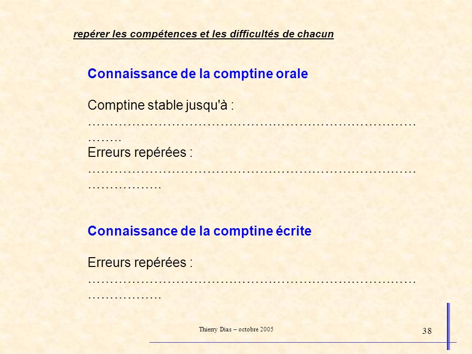 Thierry Dias – octobre 2005 38 Connaissance de la comptine orale Comptine stable jusqu'à : ………………………………………………………………… …….. Erreurs repérées : ………………………