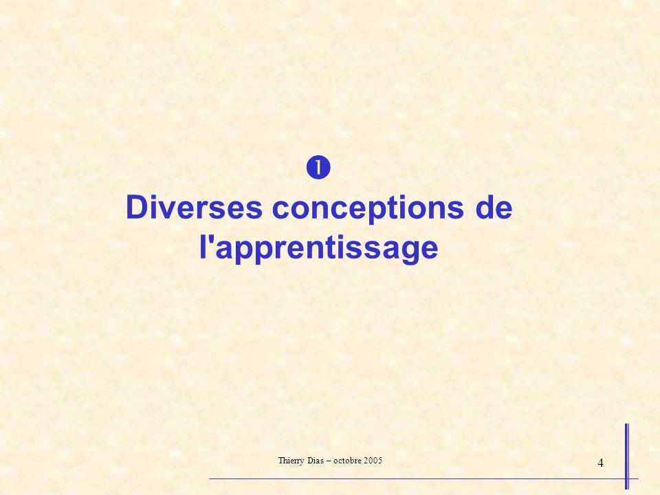 Thierry Dias – octobre 2005 25 apprendre en faisant fonctionner, en répétant Apprendre ne se fait pas en une seule fois (ou très rarement).