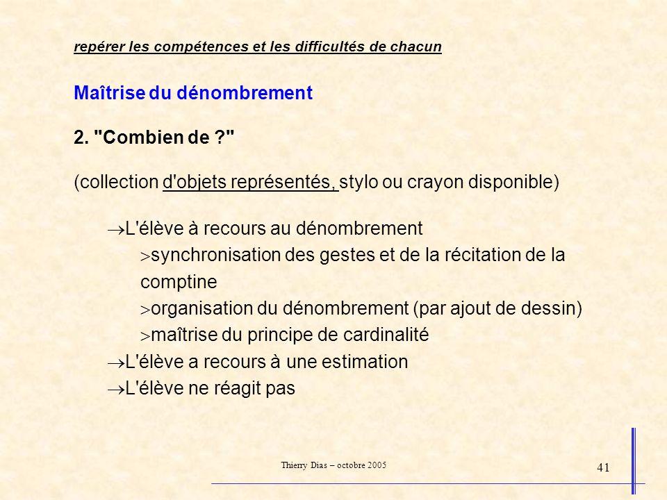 Thierry Dias – octobre 2005 41 Maîtrise du dénombrement 2.