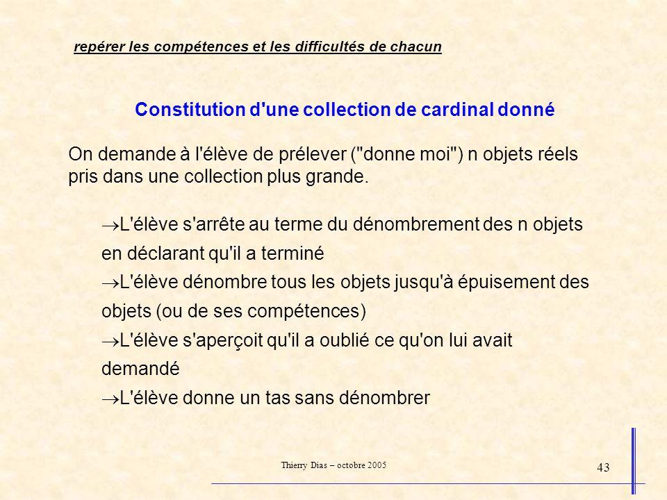 Thierry Dias – octobre 2005 43 Constitution d'une collection de cardinal donné On demande à l'élève de prélever (
