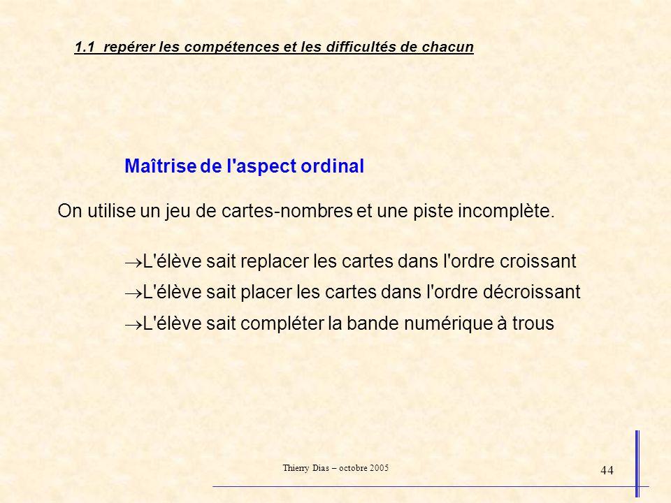Thierry Dias – octobre 2005 44 Maîtrise de l'aspect ordinal On utilise un jeu de cartes-nombres et une piste incomplète. L'élève sait replacer les car