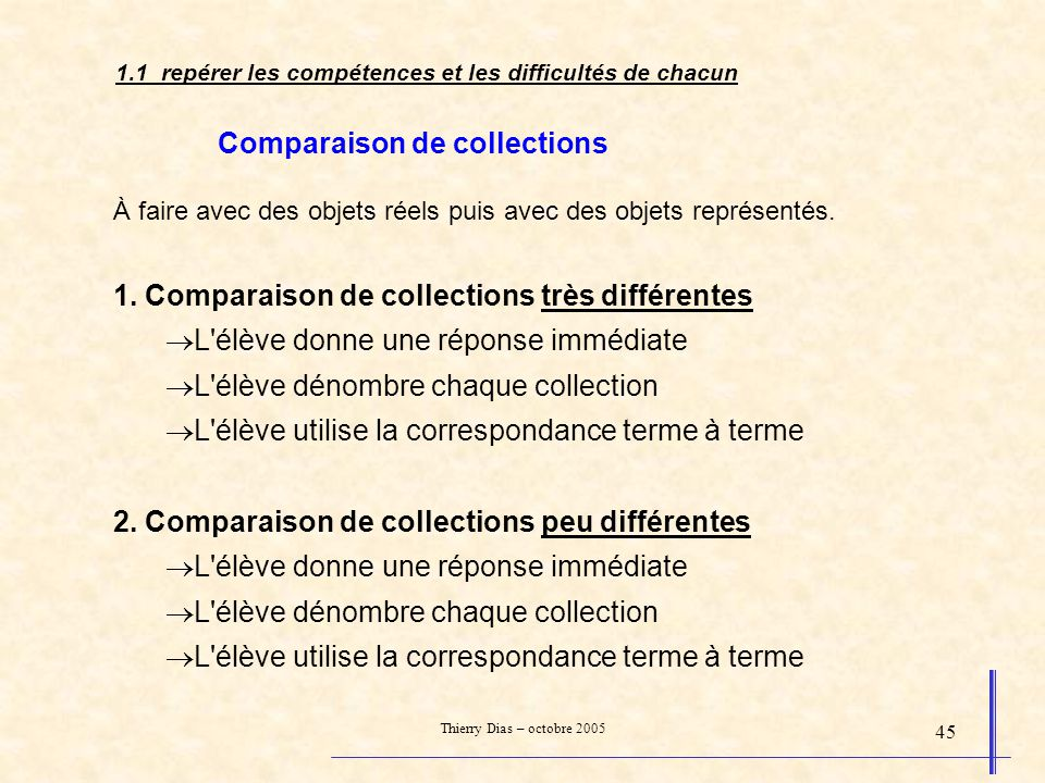 Thierry Dias – octobre 2005 45 Comparaison de collections À faire avec des objets réels puis avec des objets représentés. 1. Comparaison de collection