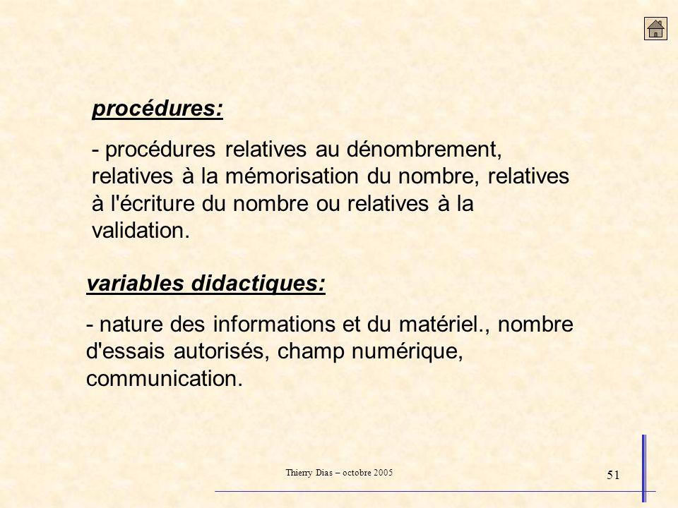 Thierry Dias – octobre 2005 51 procédures: - procédures relatives au dénombrement, relatives à la mémorisation du nombre, relatives à l'écriture du no