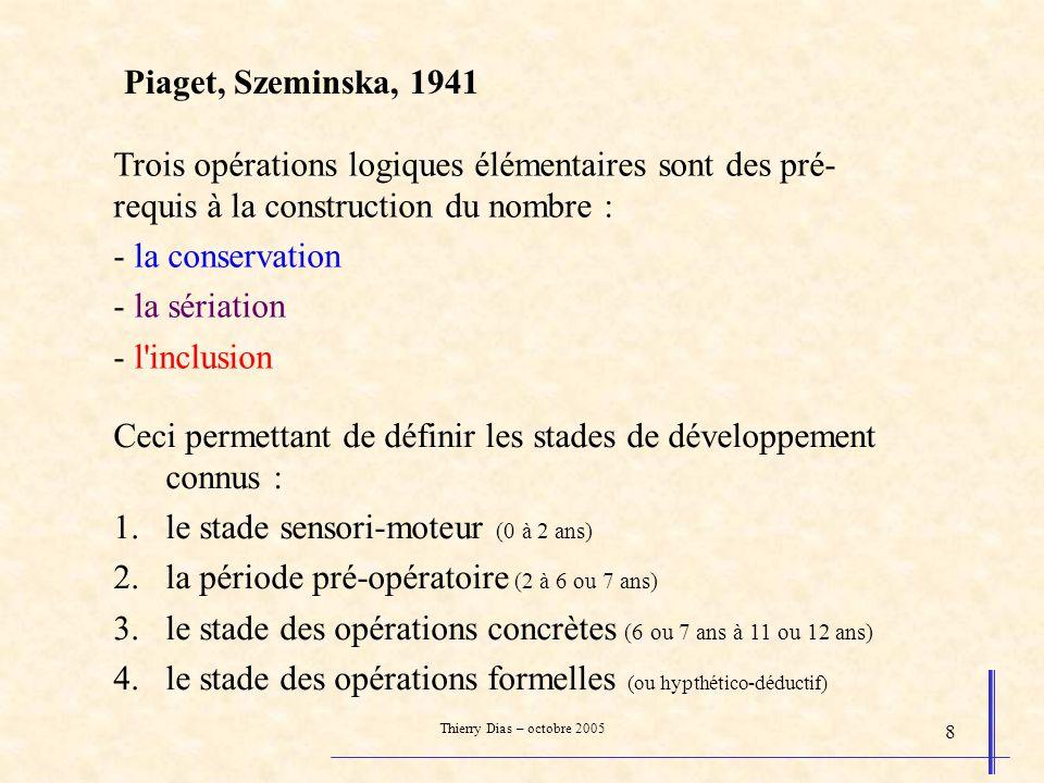 Thierry Dias – octobre 2005 8 Piaget, Szeminska, 1941 Trois opérations logiques élémentaires sont des pré- requis à la construction du nombre : - la c