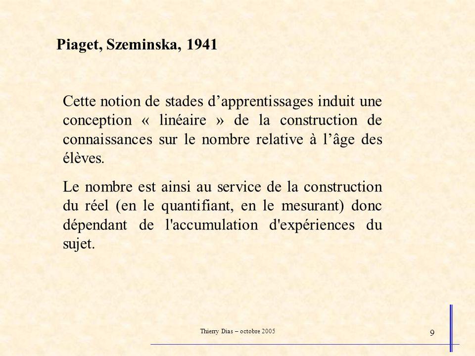 Thierry Dias – octobre 2005 9 Piaget, Szeminska, 1941 Cette notion de stades dapprentissages induit une conception « linéaire » de la construction de