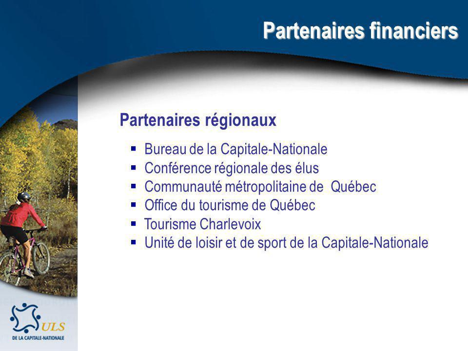 Partenaires financiers Partenaires régionaux Bureau de la Capitale-Nationale Conférence régionale des élus Communauté métropolitaine de Québec Office du tourisme de Québec Tourisme Charlevoix Unité de loisir et de sport de la Capitale-Nationale