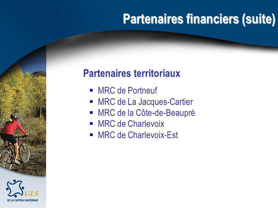 Partenaires territoriaux MRC de Portneuf MRC de La Jacques-Cartier MRC de la Côte-de-Beaupré MRC de Charlevoix MRC de Charlevoix-Est Partenaires financiers (suite)
