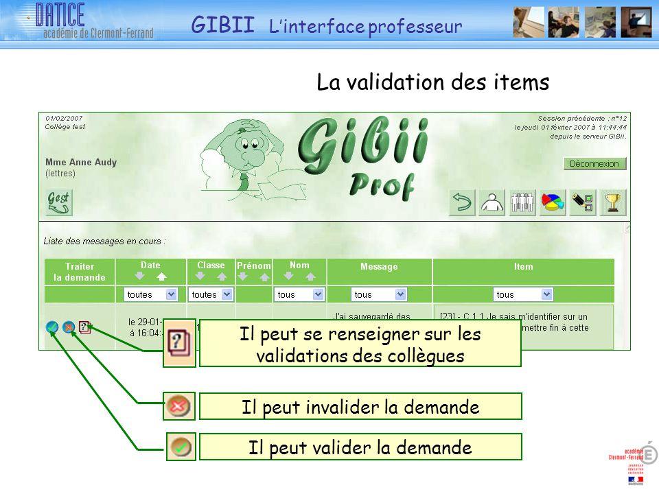 La validation des items Il peut se renseigner sur les validations des collègues Il peut invalider la demande Il peut valider la demande GIBII Linterfa