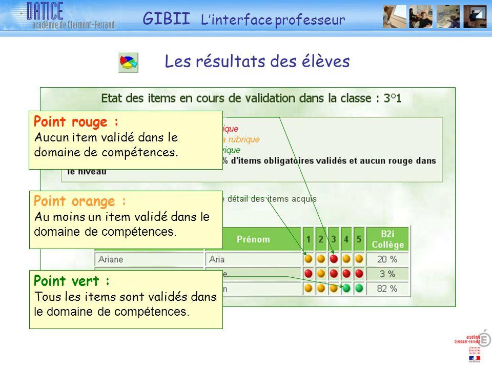 Point vert : Tous les items sont validés dans le domaine de compétences. Point orange : Au moins un item validé dans le domaine de compétences. Point