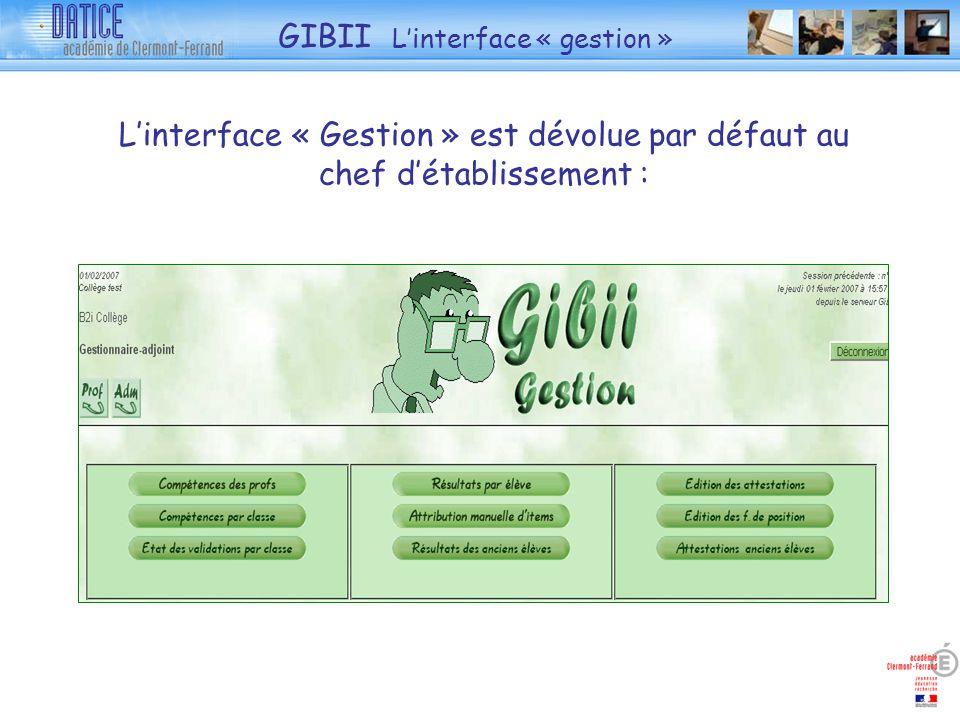 Linterface « Gestion » est dévolue par défaut au chef détablissement : GIBII Linterface « gestion »