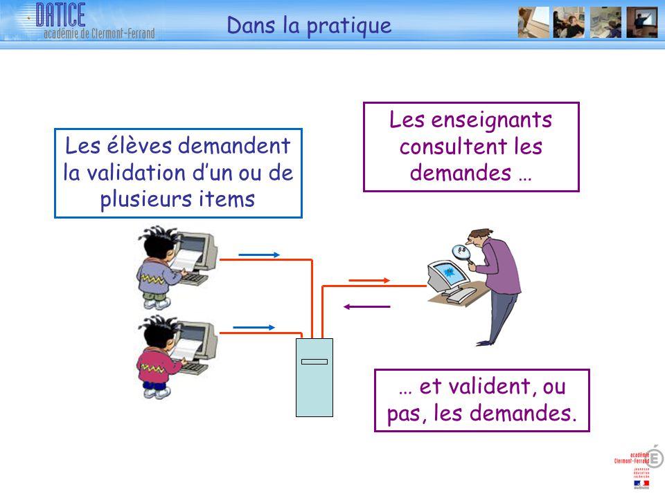 Dans la pratique Les élèves demandent la validation dun ou de plusieurs items Les enseignants consultent les demandes … … et valident, ou pas, les demandes.