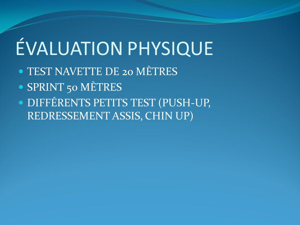 ÉVALUATION PHYSIQUE TEST NAVETTE DE 20 MÈTRES SPRINT 50 MÈTRES DIFFÉRENTS PETITS TEST (PUSH-UP, REDRESSEMENT ASSIS, CHIN UP)