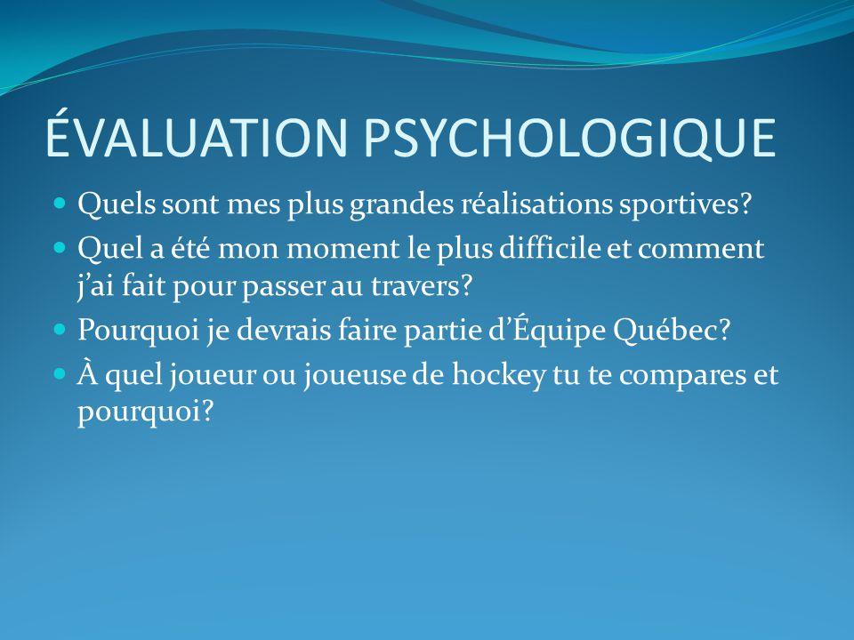 ÉVALUATION PSYCHOLOGIQUE Quels sont mes plus grandes réalisations sportives.