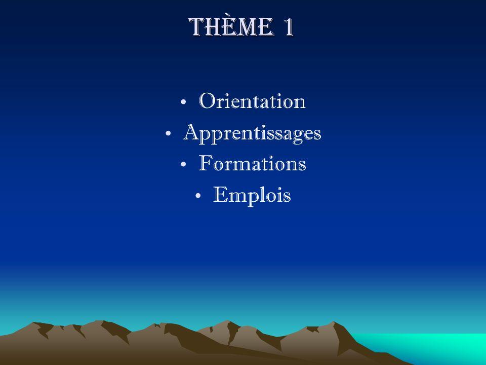 Thème 1 Orientation Apprentissages Formations Emplois