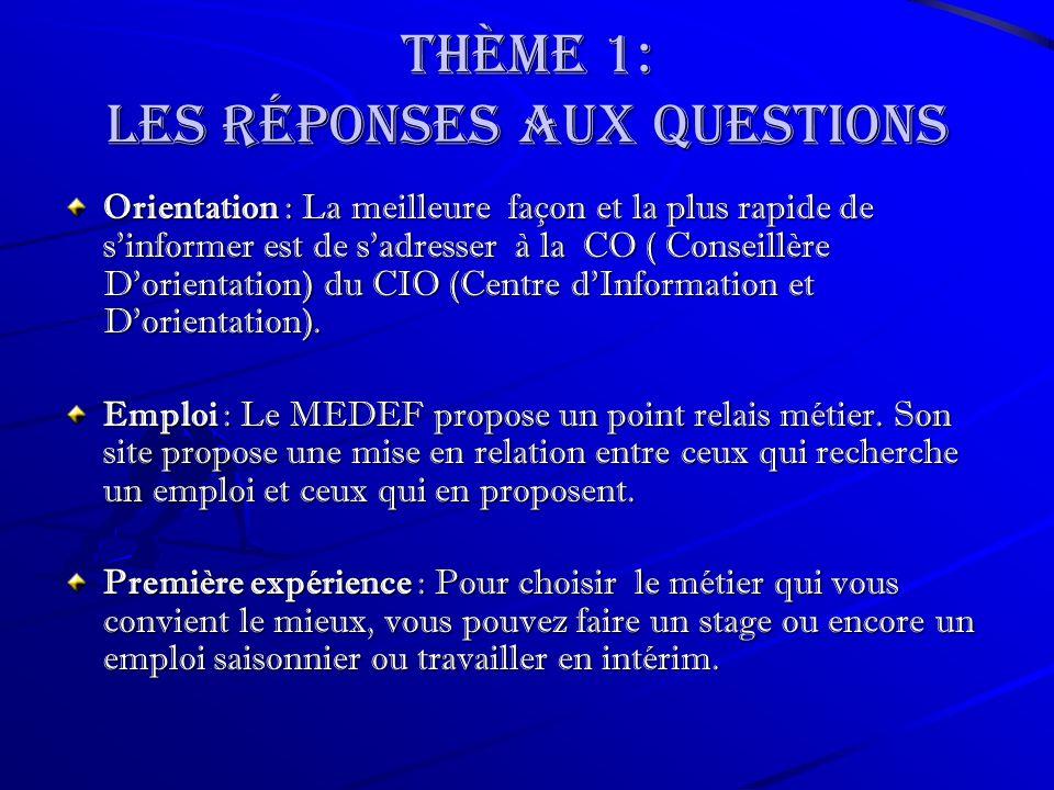 Thème 1: les Réponses aux questions Orientation : La meilleure façon et la plus rapide de sinformer est de sadresser à la CO ( Conseillère Dorientation) du CIO (Centre dInformation et Dorientation).